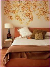 comfortable autumn bedroom interior decorating ideas with mural wall decor