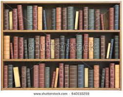 Vintage books on bookshelf isolated on white background. Education library  book store concept. 3d