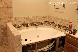 master bathroom week 7 tub surrond tiling