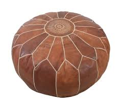 moroccan round leather pouf by badia design inc