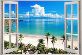 Huge 3D Window view Exotic Ocean Beach ...
