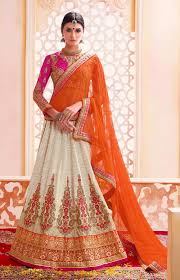 Designer Gowns For Indian Wedding Cream Designer Wear Indian Bridal Lehenga With Pink Choli