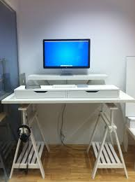 full size desk simple stand. Simple White Ikea Stand Up Desk Design With Bottom Storage Racks And Double Tops Beneath Full Size N