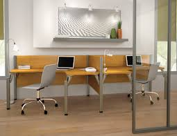 Wonderful Hardwood Computer Office Double Desk With Armless Chrome Swivel  Chairs On Fake Wood Floors Also Wall Mout Mirror Shelves As Decorate In  White ...