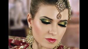 gold and green smokey eye bridal makeup tutorial asian indian