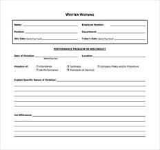 Written Warning Template Form Word Final Pdf