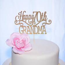 Happy Birthday Grandma Cake Topper With Personalized Age Sugar