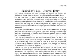 schindler s list journal entry a level media studies marked  document image preview