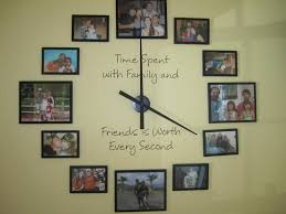 White Black Frame Ideas With Family Photo Wall Combine Wall Clock  Plusmotivation Qoutes Wall Decal Wall