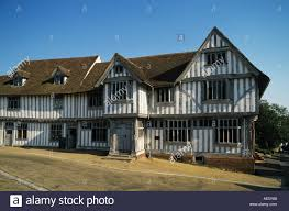 timber frame building dating from 1529 traditional lime wash carved windows doors and corner structural timbers suffolk