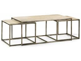 modern basics rectangular cocktail table with bronze with nesting