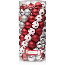 Holiday Time 60mm Round Red Shatterproof Christmas Ornaments, Set of 101