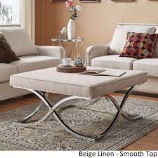 Solene-X-Base-Square-Ottoman-Coffee-Table-Chrome-