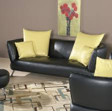 [Featured] : Elegant Living Room Furniture Ideas Along With Black Leather  Sofa Decorate Ideas Decorating With Cool Yellow Accent Also Floral Painting  ...