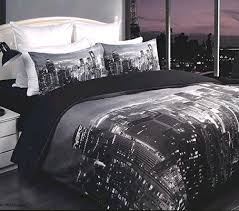 NEW YORK CITY SKYLINE BEDDING SET on The Hunt & Manhattan NEW YORK City Skyline Black Grey White KING Quilt/Doona Cover Set  NEW Adamdwight.com