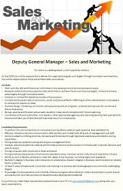 Roles Of A Sales And Marketing Manager Deputy General Manager Sales And Marketing