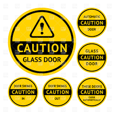 yellow round stickers and labels for glass doors vector image vector artwork of signs to zoom