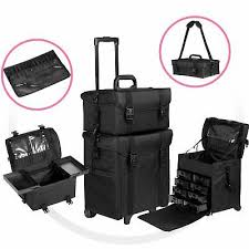 large 2 in 1 rolling makeup train case soft sided nylon black organizer trolley