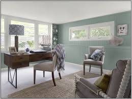 office interior colors. Office : Rustic Home Interior Decor With Blue Wall Painted Also Classic Wooden Table Plus Corner Built In Shelves And Drum Lamp Colors I