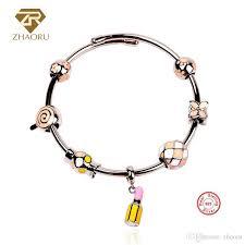 100 authentique 925 sterling silver bangle enamel swarovski crystal bracelet for women fashion fine jewelry diy bangle gift christening bangles 22ct gold
