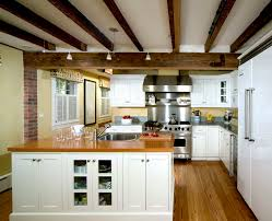 ... Stunning Home Interior With Beam Ceiling Ideas : Inspiring Design Ideas  Using L Shaped White Wooden