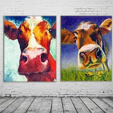 new 2017 handmade modern mural picture on canvas wall art cow painting hang paintings abstract animals