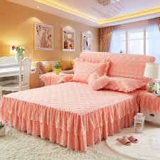 cotton lace girls princess bedding sets blue pink beige bed skirts set king queen full size bed spread set pillowcases brown ruffle skirt dust ruffles for