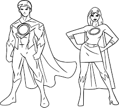 Small Picture Powered Superheroes Super Hero Girl Boy Coloring Page Wecoloringpage