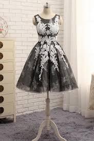 <b>Black</b> round neck tulle <b>lace applique short</b> prom dress - dresstby