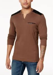 inc international concepts men s split neck shirt with faux leather piecing created for macy s