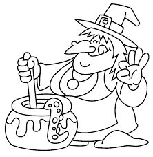 Witch And Couldron Halloween Coloring Page 6 Coloring Kids