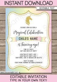 Unicorn Party Invitations Template Printable Birthday