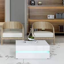 high gloss white coffee table with led lighting tiffany range tiff014