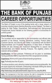 Bank Manager Job Description Branch Manager Jobs In Bank Of Punjab 2015 July Apply Online