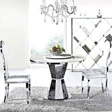 white marble top round dining table with stainless steel frame metal top round dining table metal