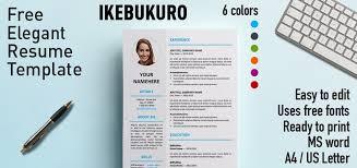 Resume Free Template Ikebukuro Elegant Resume Template