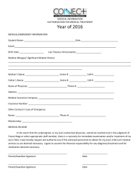 Special Needs Athletic Program Emergency Release Form