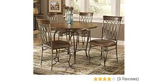 amazon hilale montello dining chairs set of 2 with brown faux leather old steel finish chairs