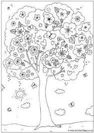 Bloesem Boom Kleurplaat Lente Groep 3 4 Tree Coloring Page
