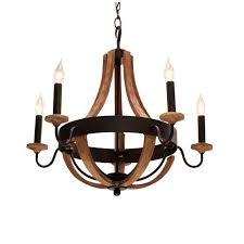 5 light driftwood hampton bay chandelier for home lighting idea