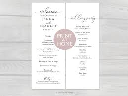 wedding party program templates wedding ceremony program template printable instant download