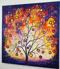 abstract tree painting burning bush landscape canvas art colorful modern over the bed living dining room decor acrylic 30x30 jmichael