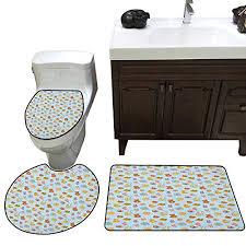 baby 3 pc bath rug set newborn sun teddy bear ribbon feeder pacifier kitty cat design toilet floor mat set pale blue cinnamon apricot