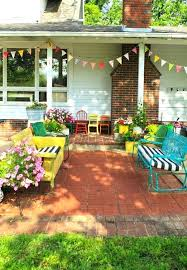 eclectic outdoor furniture. Eclectic Outdoor Furniture Mix Of On A Cute Brick Patio Love The Flower C