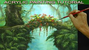 acrylic landscape painting tutorial tropical misty forest with hanging plants flowers and ferns