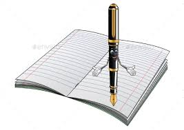 fountain pen cartoon character with notebook man made objects objects