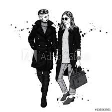 Beautiful Couple In Coat And Jeans Slender Man And Woman Vector