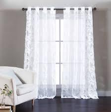 single white cotton blend sheer curtain panel burnout design