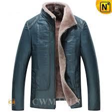 blue shearling jacket mens