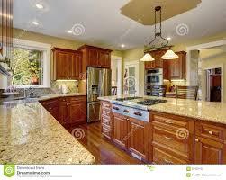 Cucina classica con il pavimento di legno duro la porcellana ed i